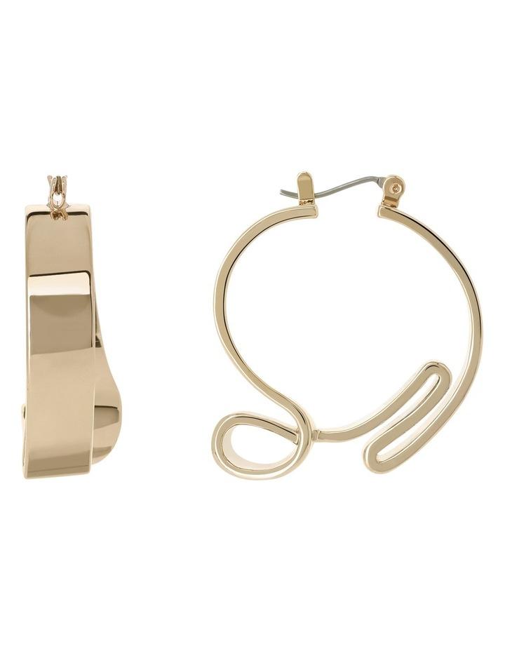 WCGEW17ER21 Sculptural Metal Ribbon Hoop Earrings image 1