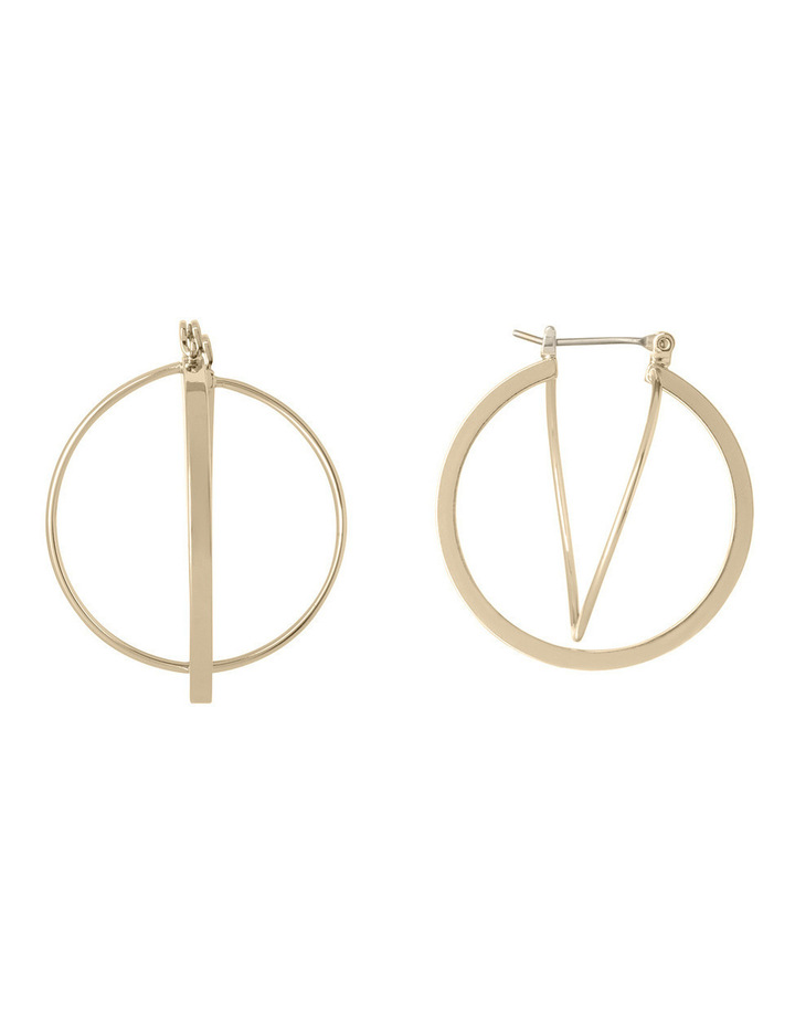 WCHSW17ER24 Sculptural Metal Sleek Atom Hoop Earrings image 1