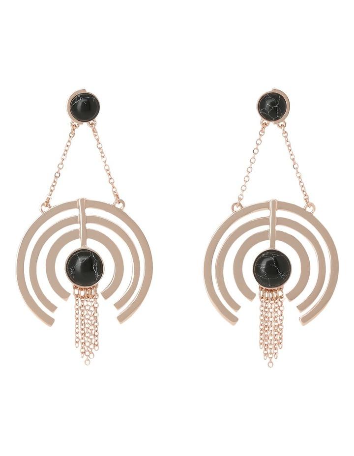 WCJHW17ER30 Marbled Resin Crop Circle Fringe Earrings image 1