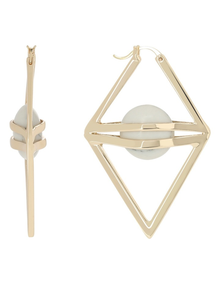 WCJHW17ER41 Marbled Resin Large Caged Resin Triangle Hoop Earrings image 1