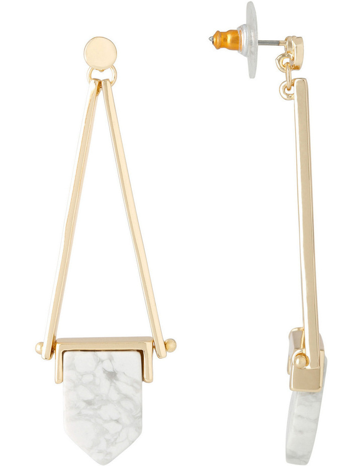 WCJHW17ER43 Marbled Resin Angled Resin Long Drop Post Earings image 2