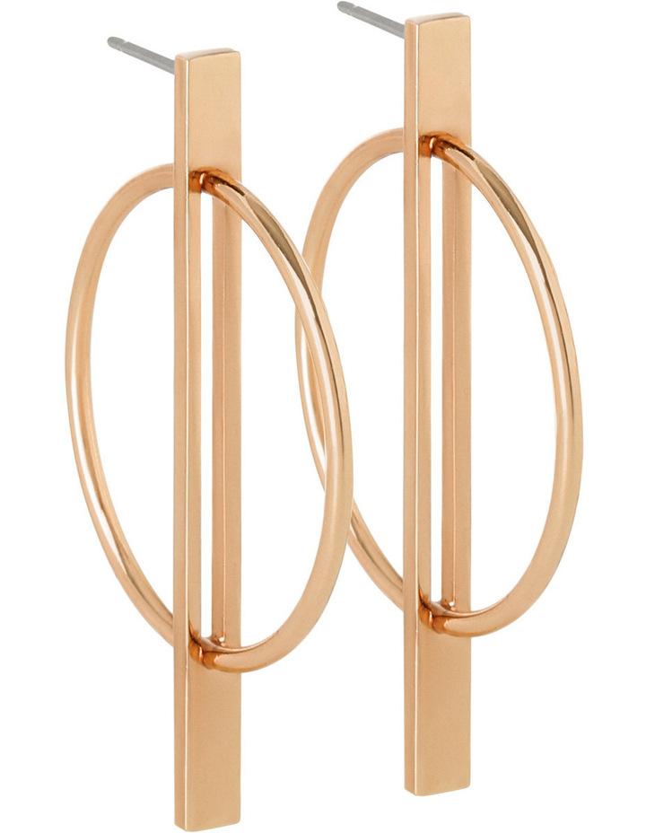 WCHSW17ER65 Geometric Metal Ring In Bar Drop Post Earrings image 3