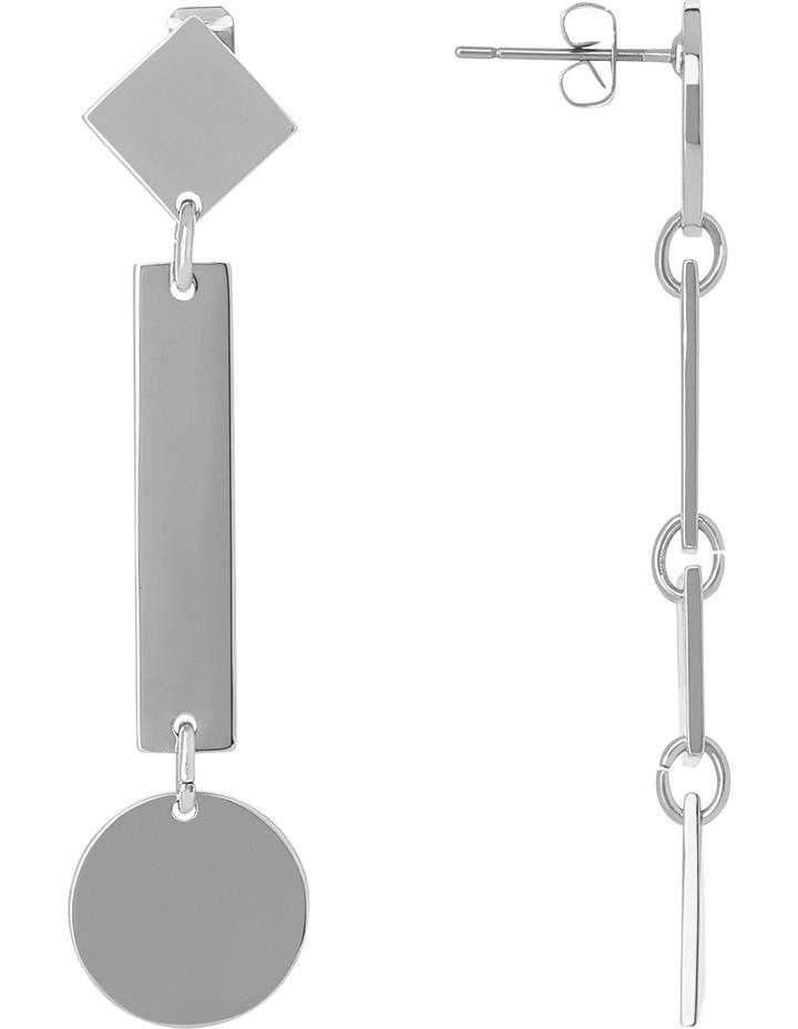 WCGEW17ER54 Geometric Metal Long Mismatched Geometric Post Earrings image 2