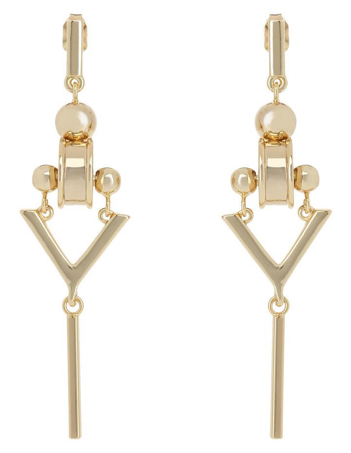 WCGEW17ER73 Geometric Metal Long Industrial Rhondelle Post Earrings image 1