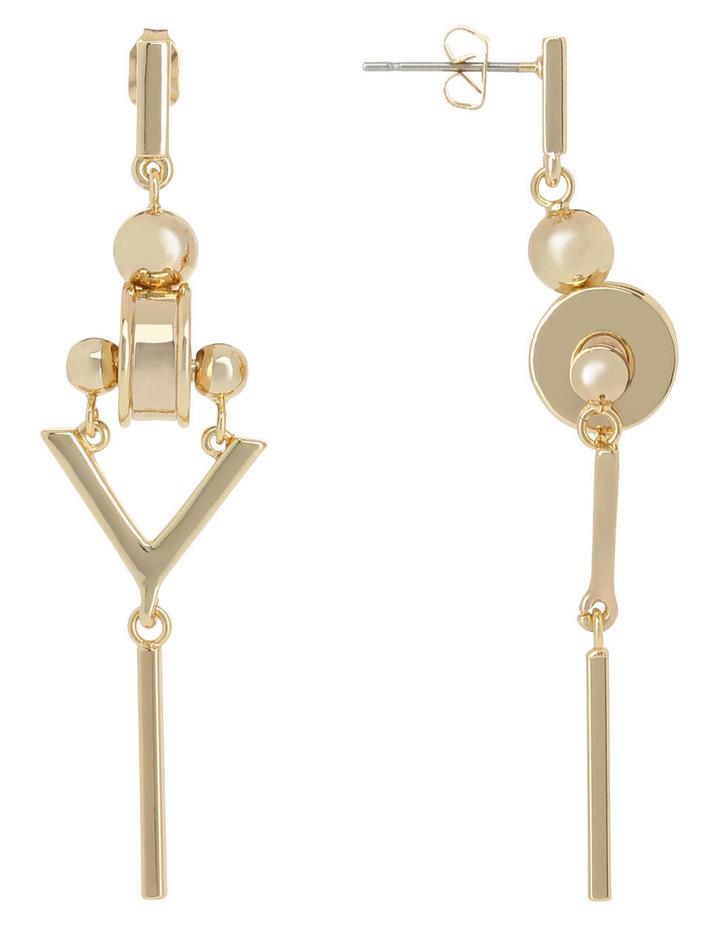 WCGEW17ER73 Geometric Metal Long Industrial Rhondelle Post Earrings image 2