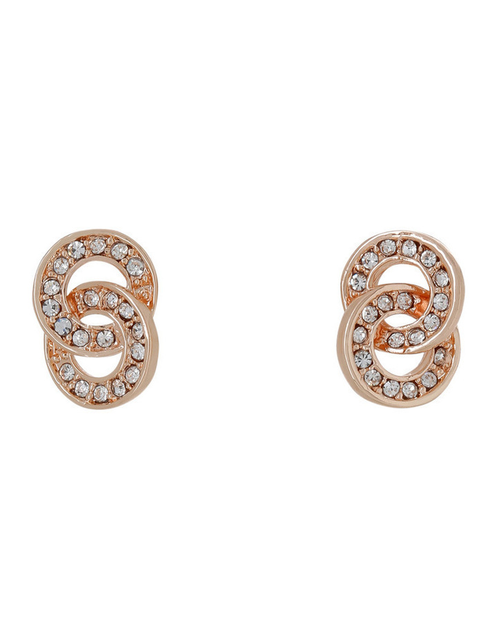 Interlinked Circle Crystal Stud Earring image 1