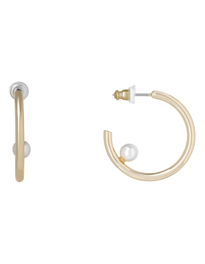 Small Hoop Earring With Single Pearl On Inside image 1
