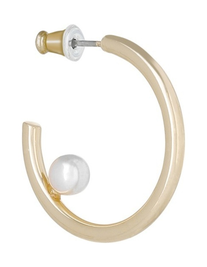 Small Hoop Earring With Single Pearl On Inside image 2