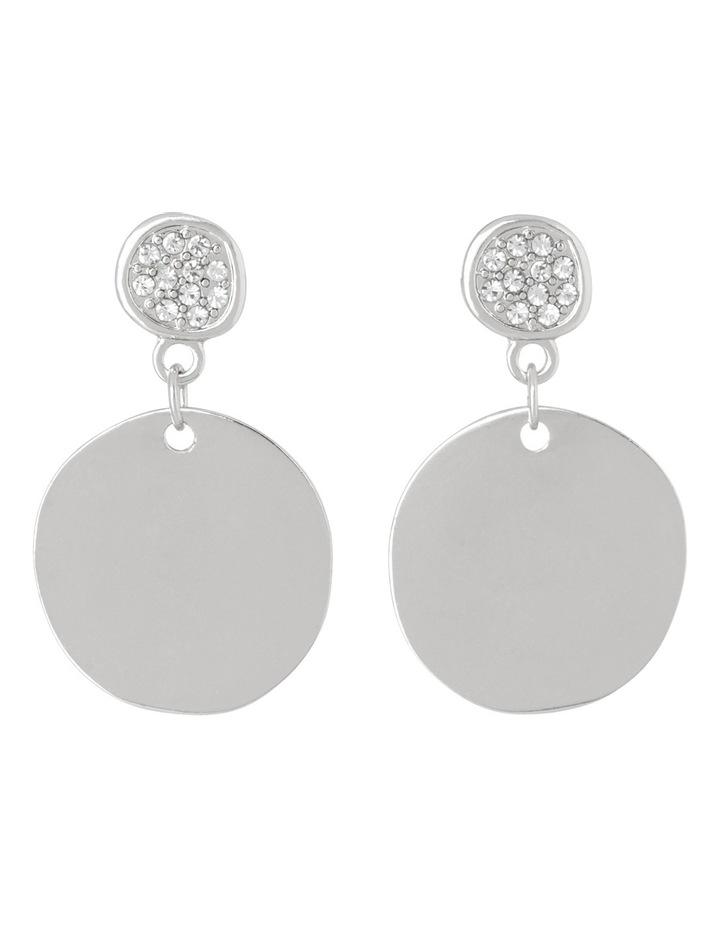 Essentials Earrings Simple Circle Diamante Drop Silver image 1