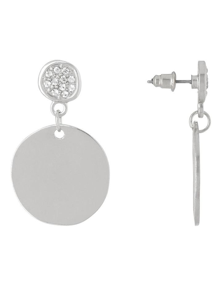 Essentials Earrings Simple Circle Diamante Drop Silver image 2