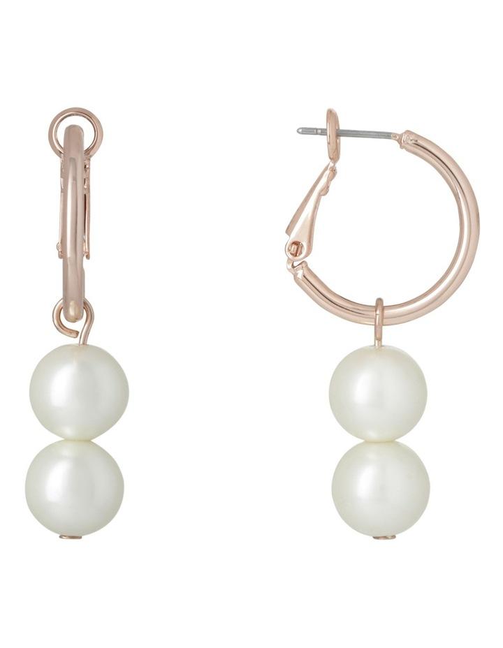 Double Pearl Hoop Earring image 1