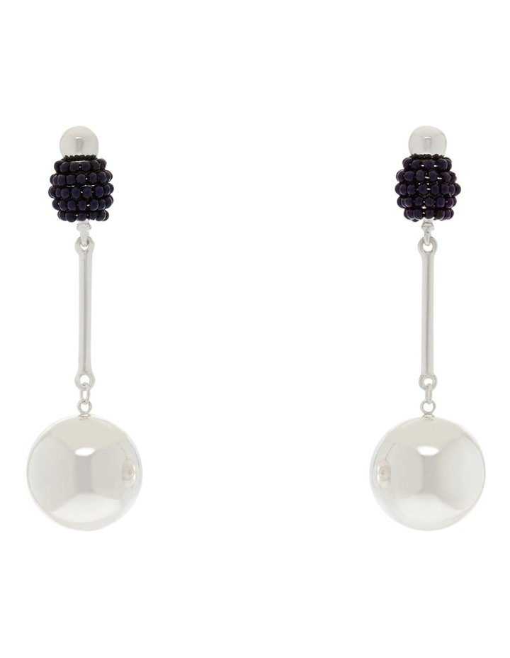 Luxe Ball Drop Earring Silver/navy image 1