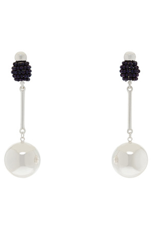 Piper - Luxe Ball Drop Earring Silver/navy