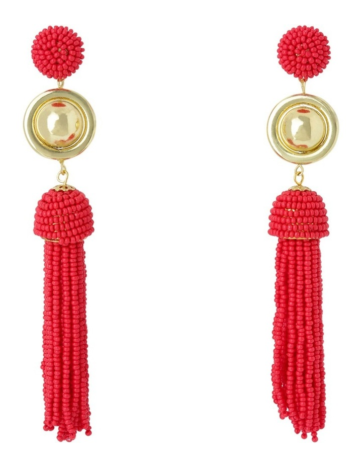 Luxe Statement Tassel Earring, Soft gold red image 1