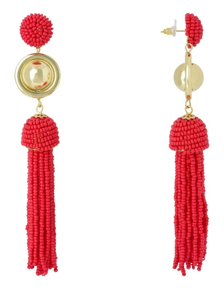 Luxe Statement Tassel Earring, Soft gold red image 2