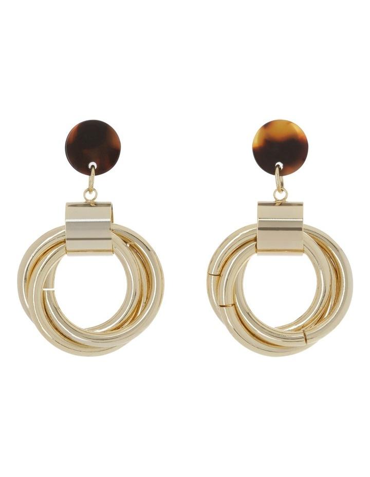 Multi Hoop Tortoise Trim Drop Earrings image 1