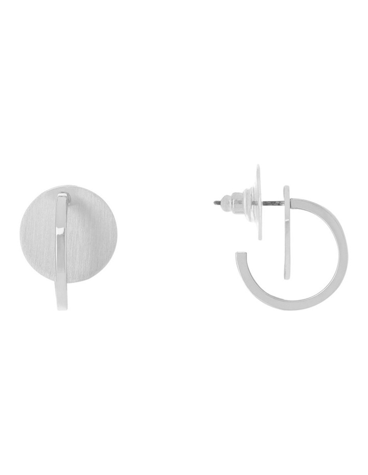 Brushed Metal Mini Hoop & Disc Earring image 1