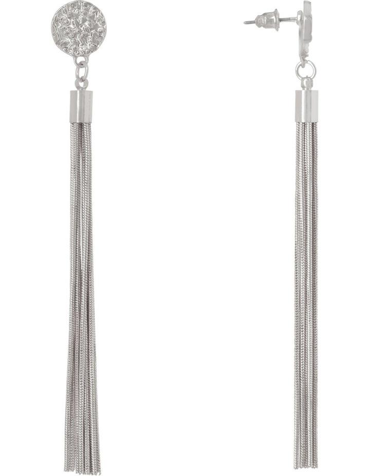 Druzy Tassel Earring Rhodium image 2