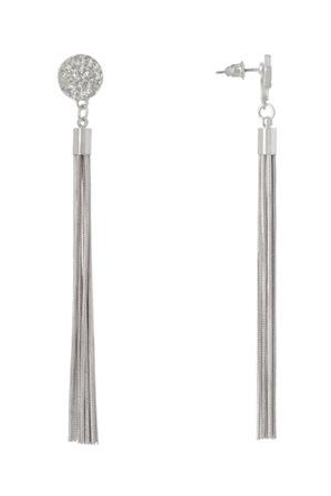Basque - Druzy Tassel Earring Rhodium