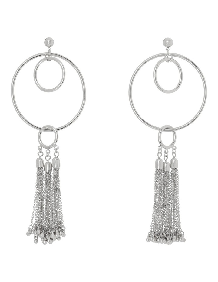 Statement Circle & Tassel Drop Earring image 1