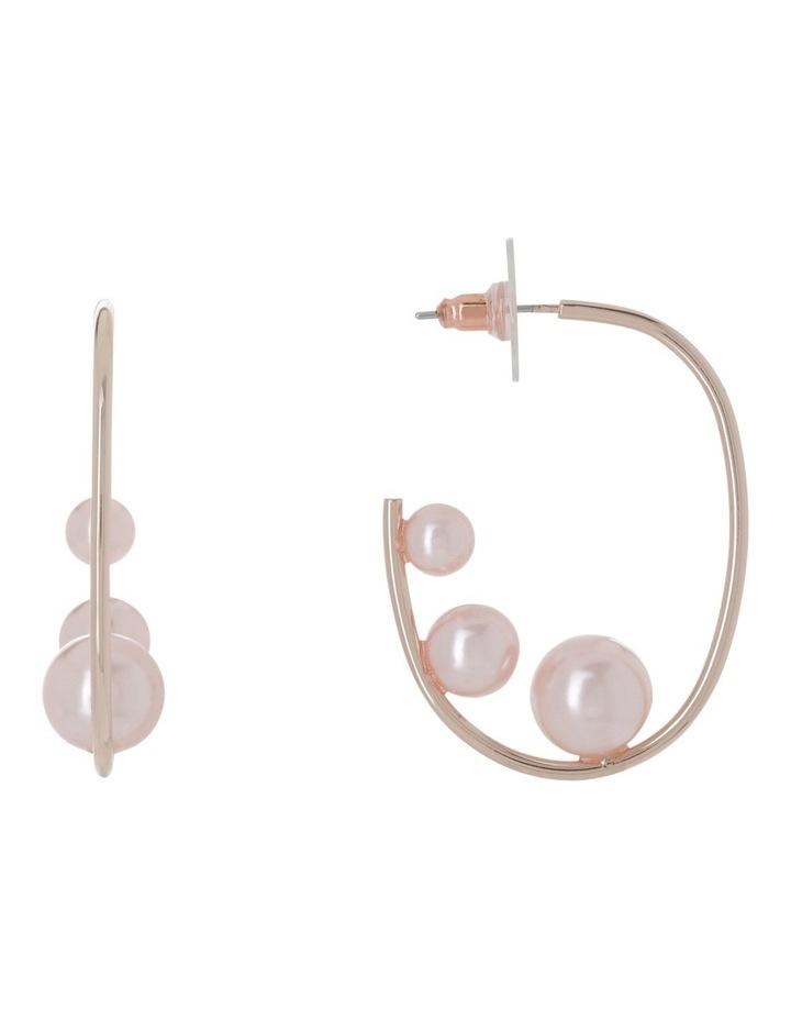 Triple Blush Pearl Look Square Hoop Earrings image 1