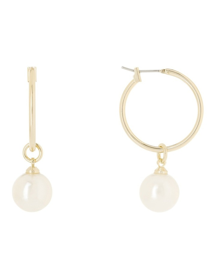 Ivory Pearl Look Small Hoop Earrings WCGES18ER66A image 1