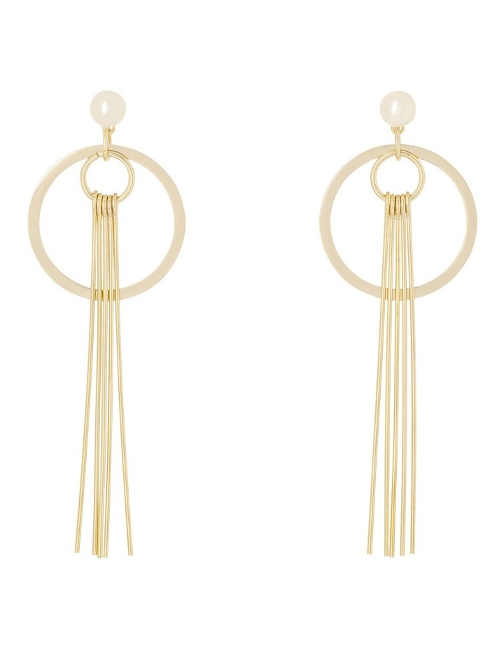 Small Pearl Circle and Solid Tassel Earrings image 1