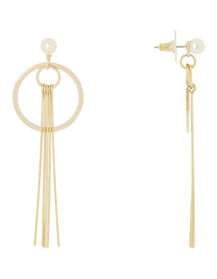 Small Pearl Circle and Solid Tassel Earrings image 2