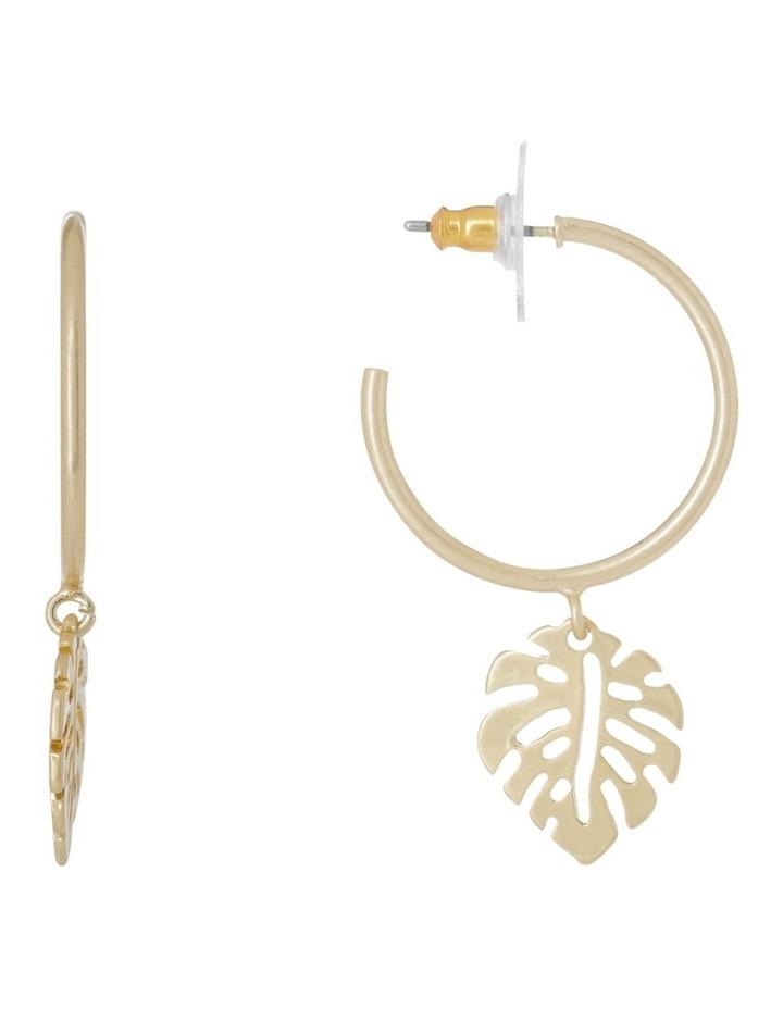 Small Palm Leaf Hoop Earrings image 1