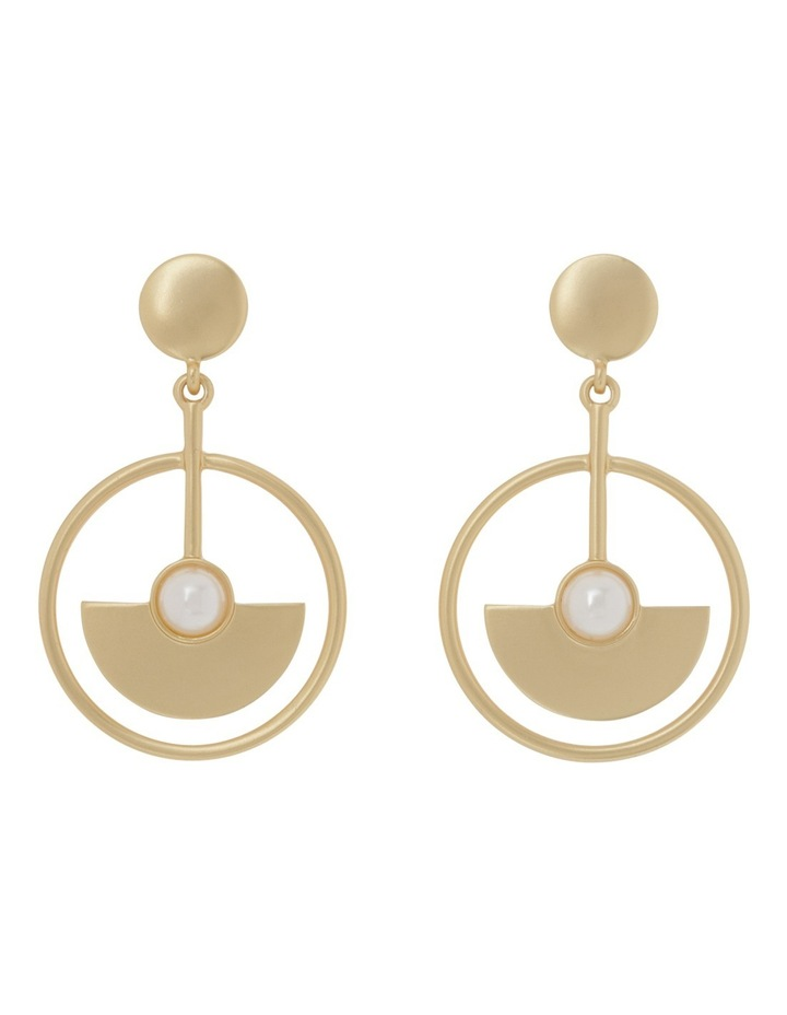 Semicircle Pearl Detail Drop Earring image 1
