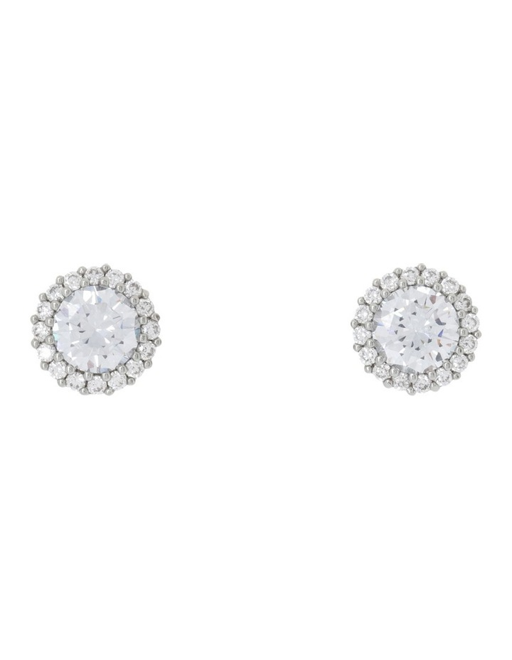 Round CZ Pave Stud Clear image 1