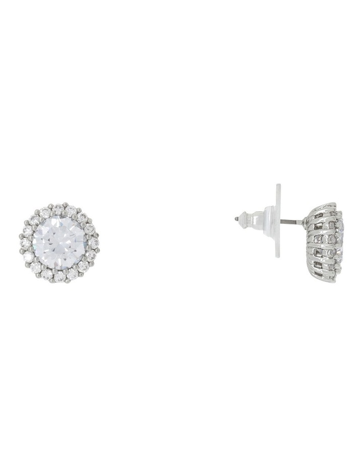 Round CZ Pave Stud Clear image 2