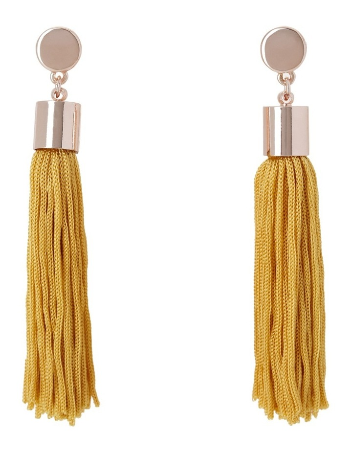 Metal Disc And Tassel Earring Yellow image 1