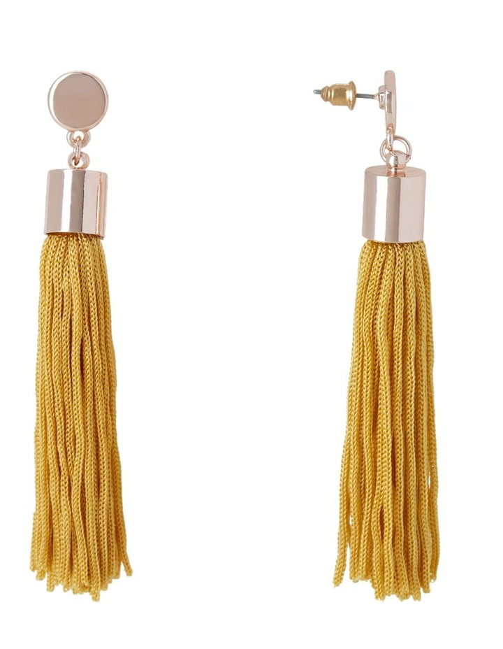 Metal Disc And Tassel Earring Yellow image 2