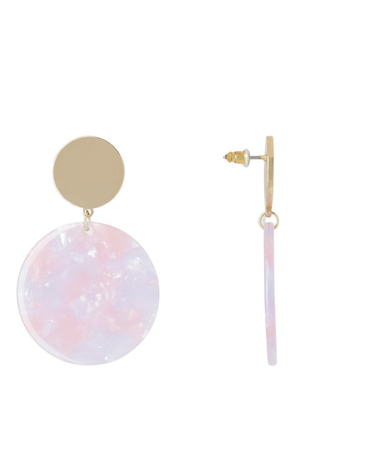 Hanging Acrylic Circle Earring Blush image 2