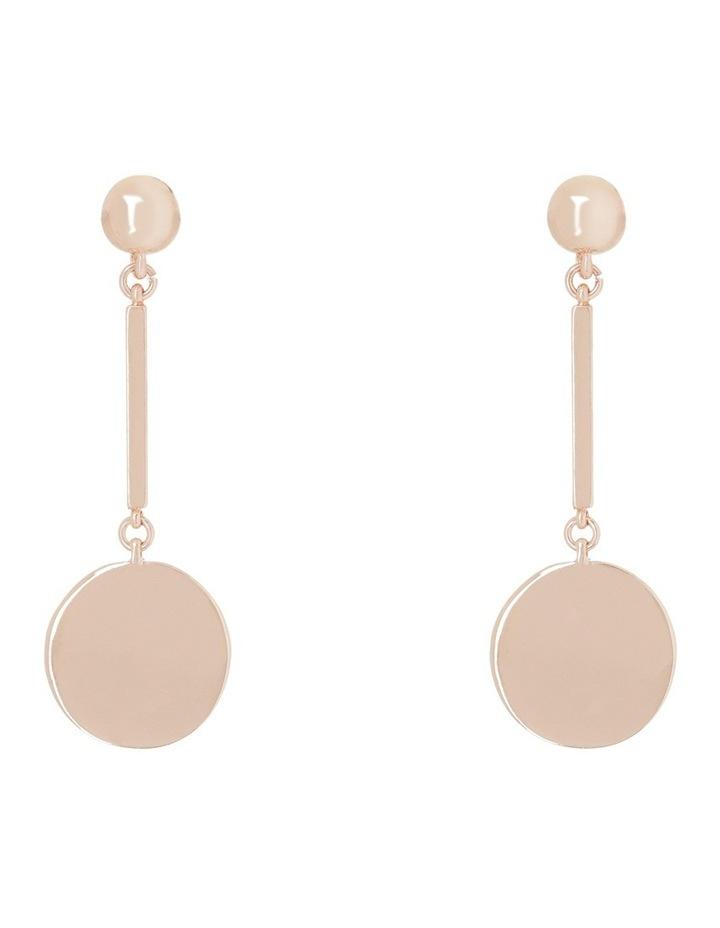 Flat Circle Bar Drop Earring Rose Gold image 1
