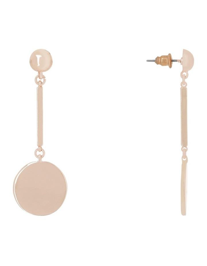 Flat Circle Bar Drop Earring Rose Gold image 2