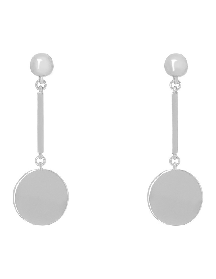 Flat Circle Bar Drop Earring Silver image 1