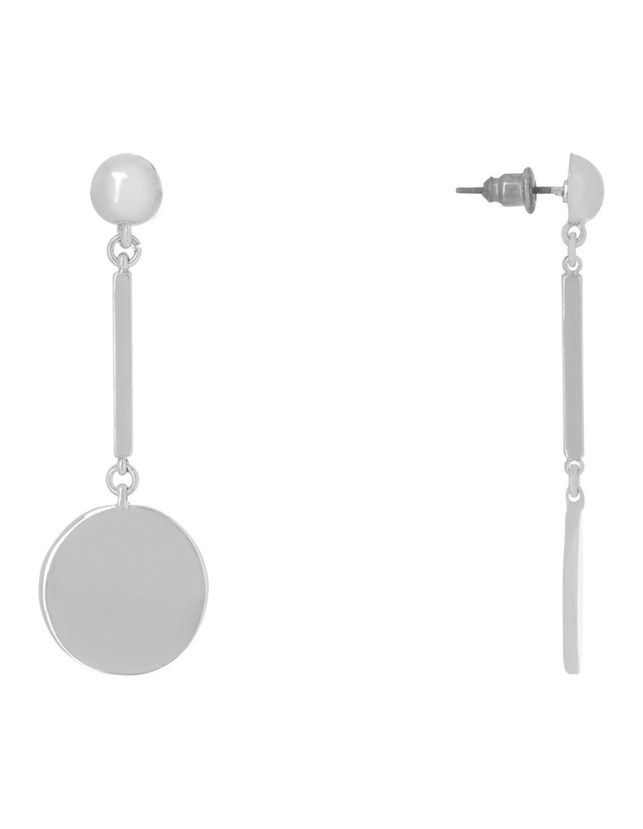 Flat Circle Bar Drop Earring Silver image 2