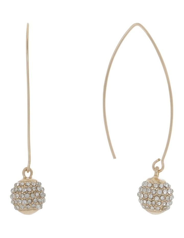 Diamante Ball Drop Earring Gold image 2