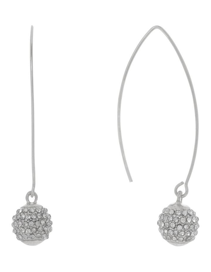 Diamante Ball Drop Earring Silver image 2