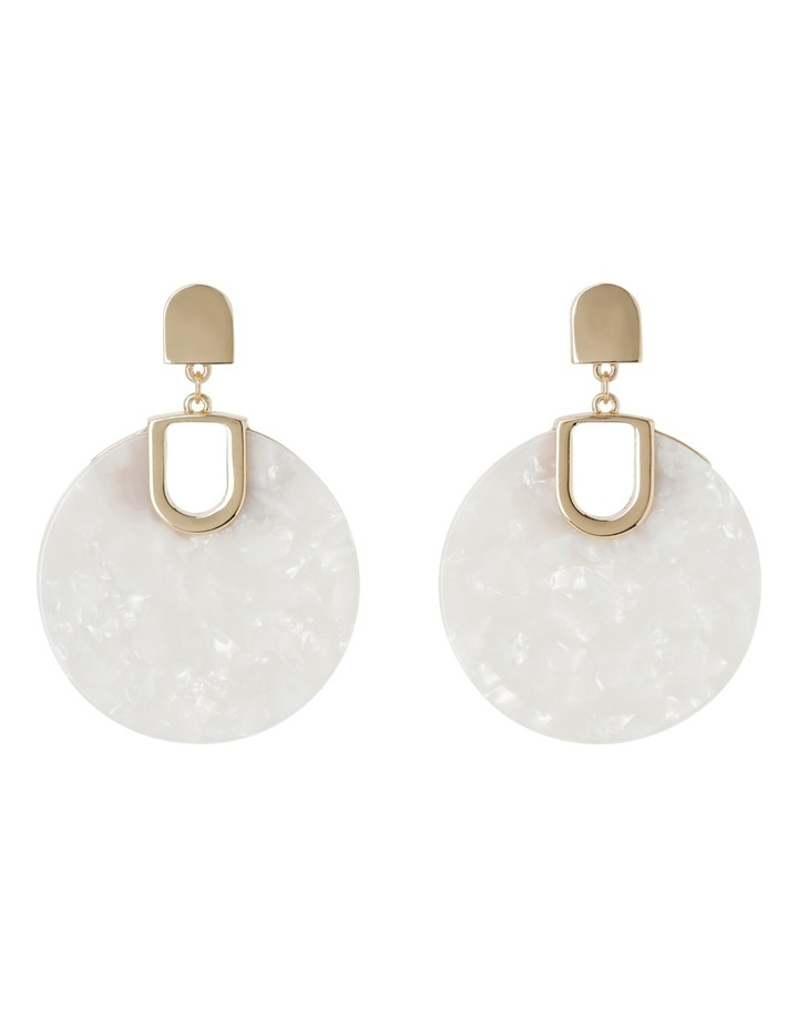 Acrylic Circle Drop Earring White image 1