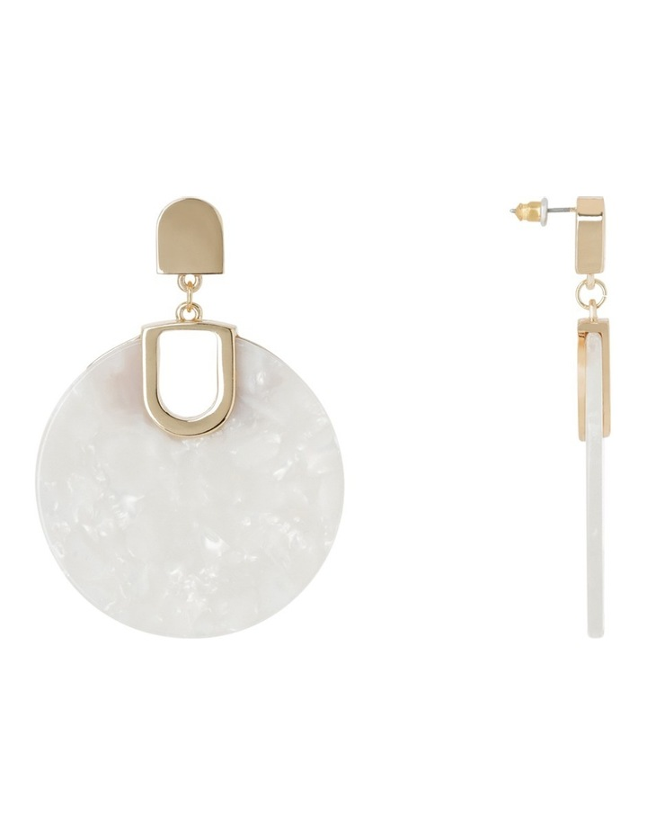 Acrylic Circle Drop Earring White image 2
