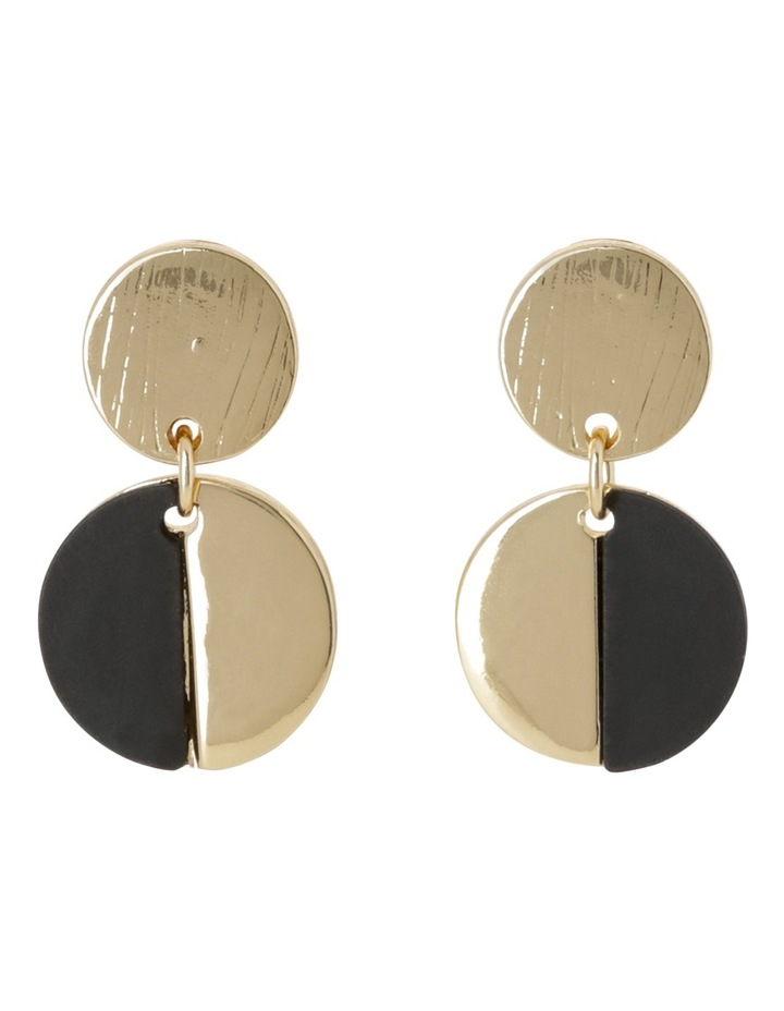 Small Double Circle Drop Earring Black image 1