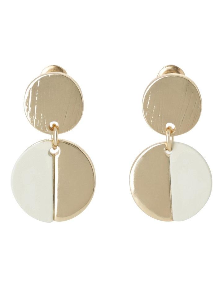 Small Double Circle Drop Earring Ecru image 1