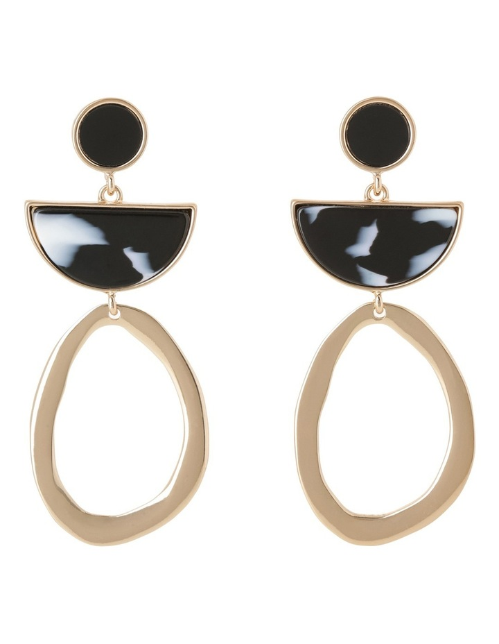 Flat Metal Cut Out Enamel Drop Earring image 1