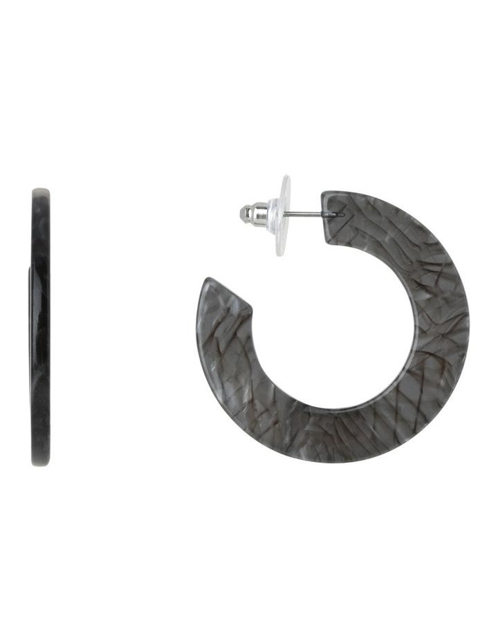 Flat Resin Hoop Earring Grey Tort image 1