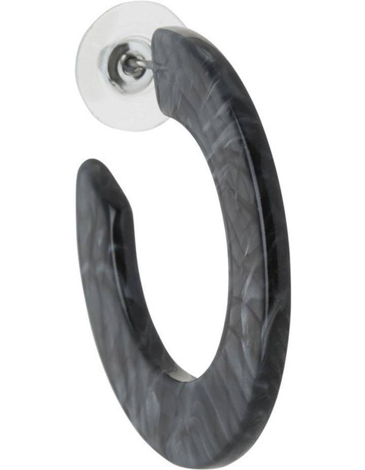 Flat Resin Hoop Earring Grey Tort image 2