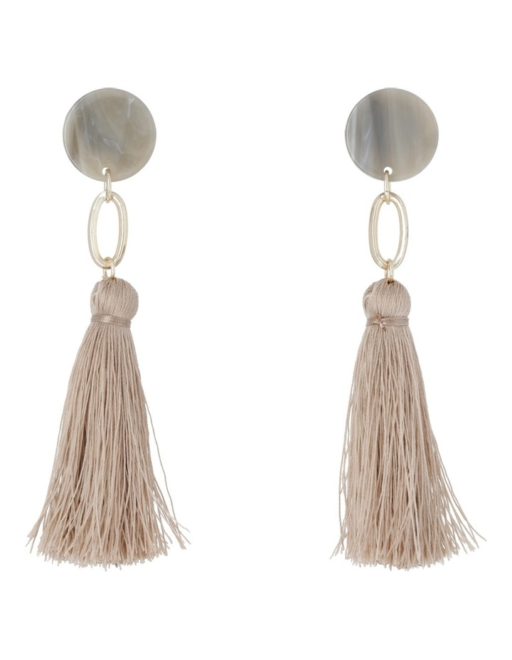 Clean Oval Cut Out Tassel Earring Nude image 1