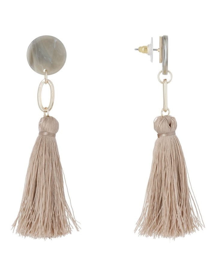 Clean Oval Cut Out Tassel Earring Nude image 2